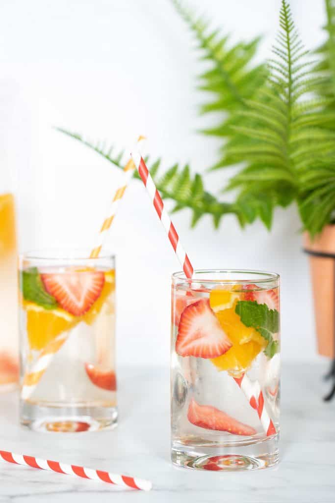 Orange, Strawberry, + Mint Infused Water