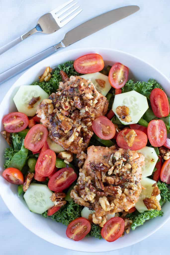Salad: Maple Walnut + Pecan Encrusted Salmon