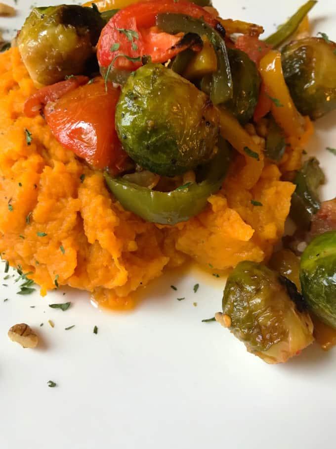Roasted Veggies + Mashed Sweet Potato