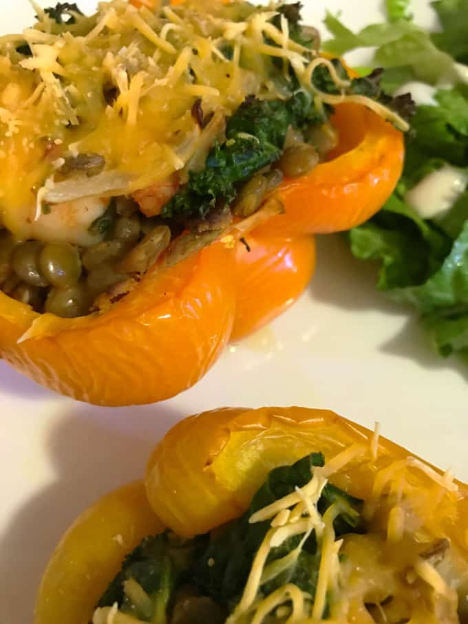 Shrimp, Lentil + Kale Stuffed Peppers