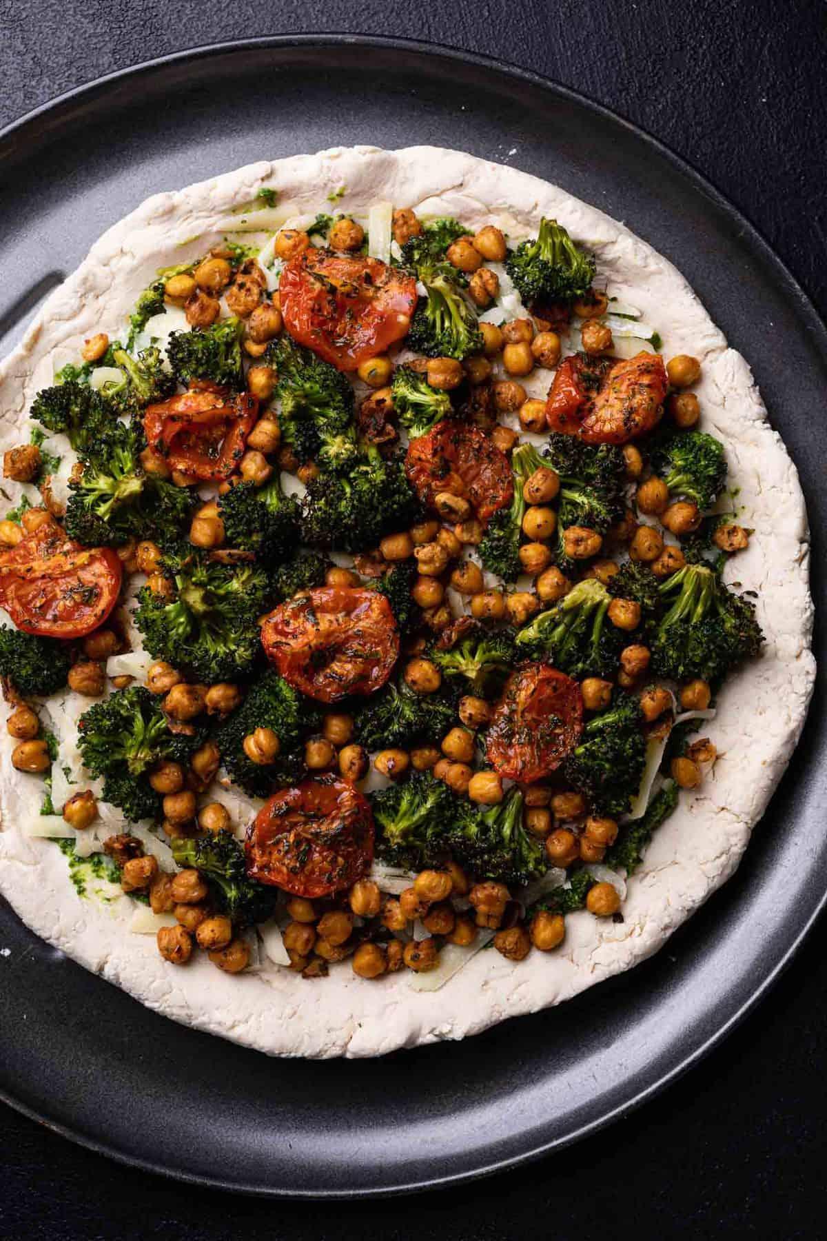 Chickpea + Veggie Gluten-Free Pesto Pizza