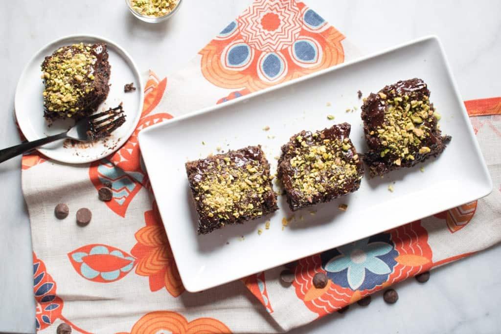 Vegan Fudge Zucchini Brownies with Pistachio
