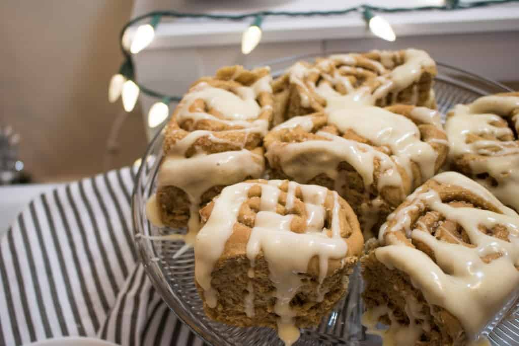 Gingerbread Cinnamon Rolls + Maple Cream Cheese Frosting