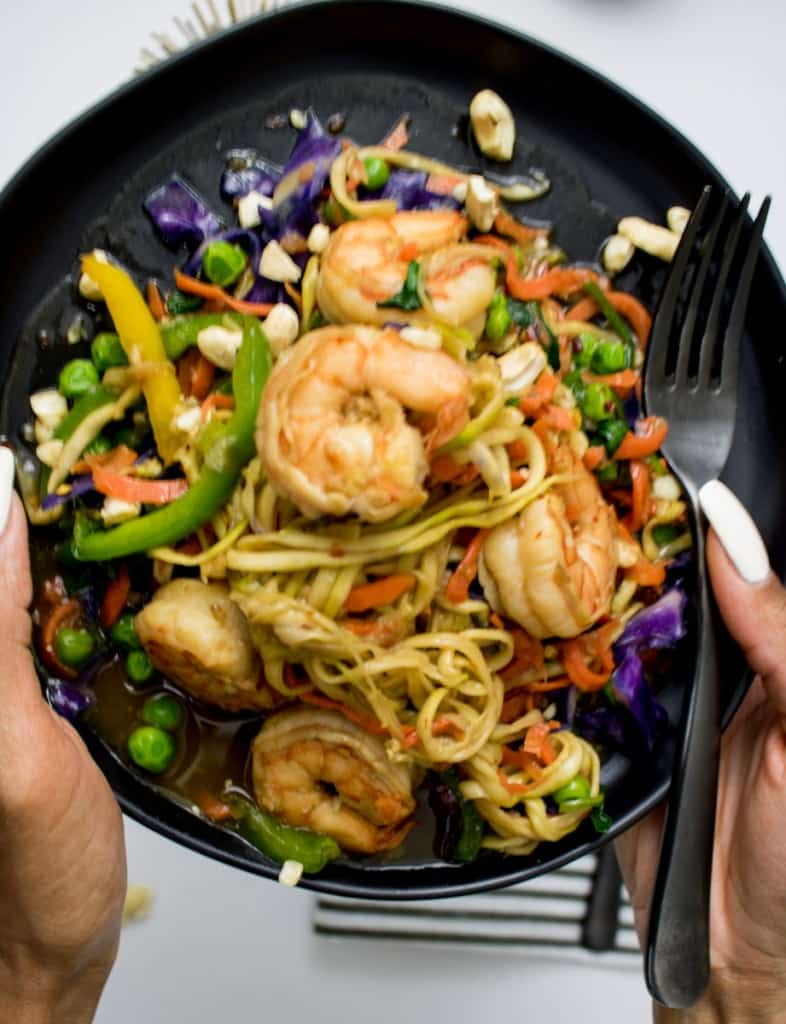 Carrot and Zucchini Noodles Stir Fry with Shrimp + BHM Potluck