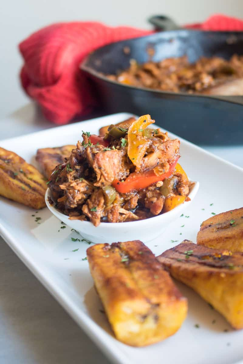Shredded BBQ Jerk Chicken + Sweet Plantains