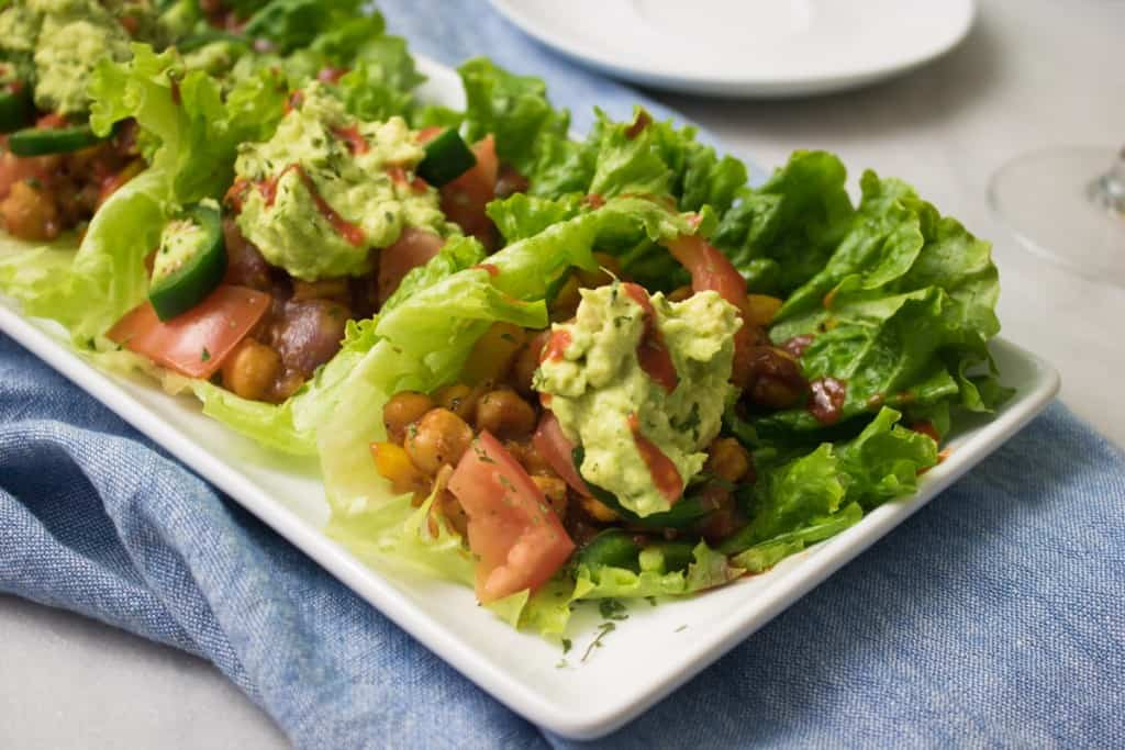 Spicy BBQ Chickpea Lettuce Wraps