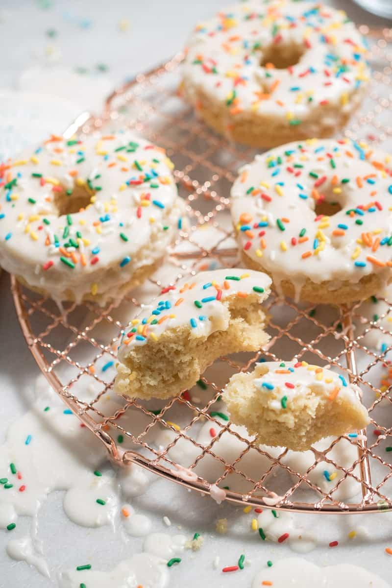 Vegan Vanilla Donuts with Sprinkles