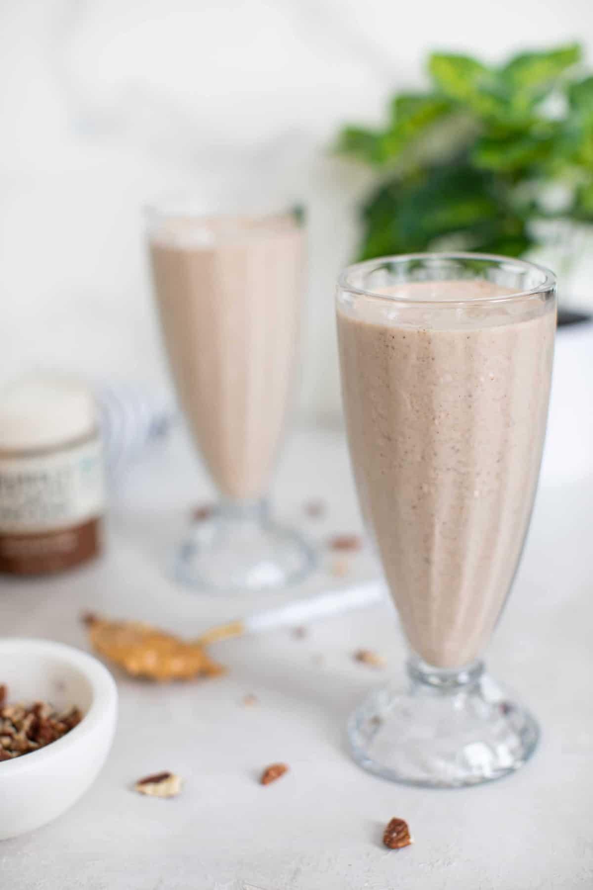 Vegan Peanut Butter + Pecan Milkshake