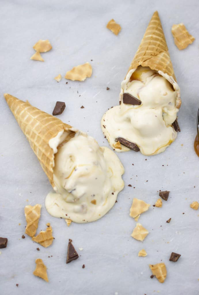 No-Churn Caramel Cone Ice Cream