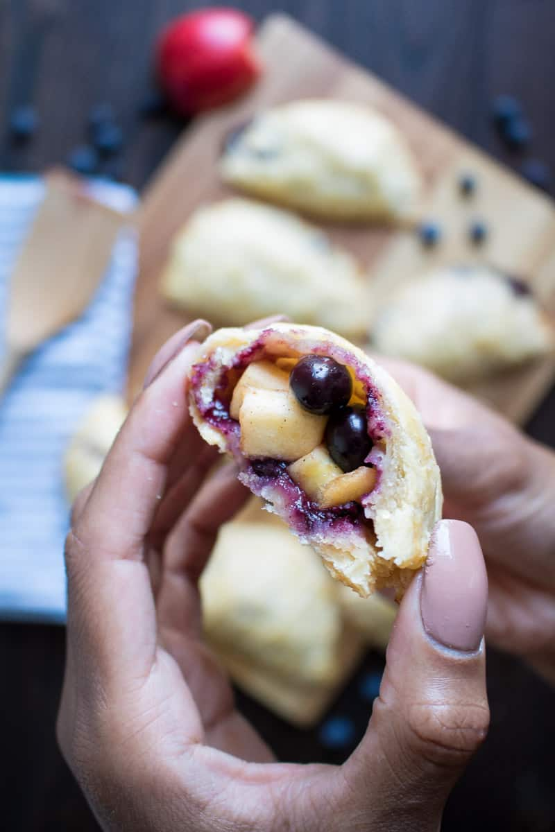 Apple Blueberry Hand Pies + Maple-Brown Sugar Glaze