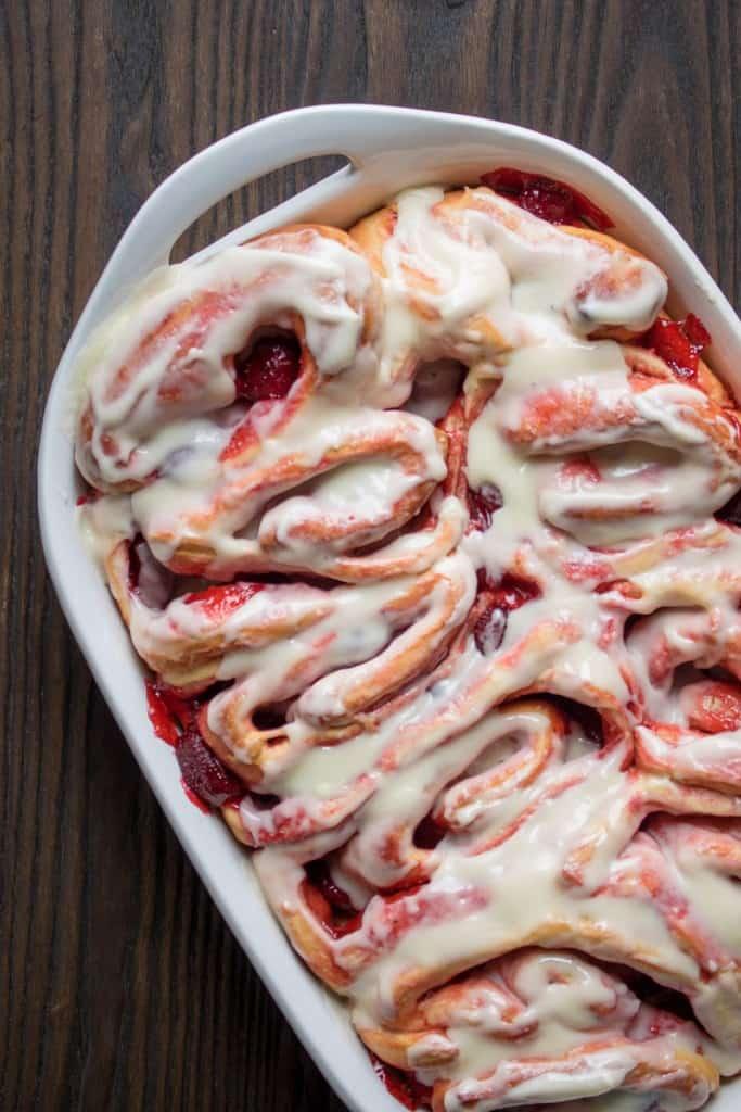Strawberry Sweet Rolls + Lemon Cream Cheese Glaze