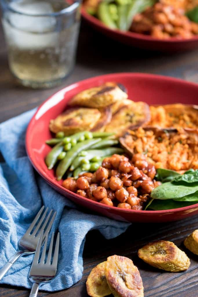 Roasted Plantain + BBQ Chickpea Vegan Bowl