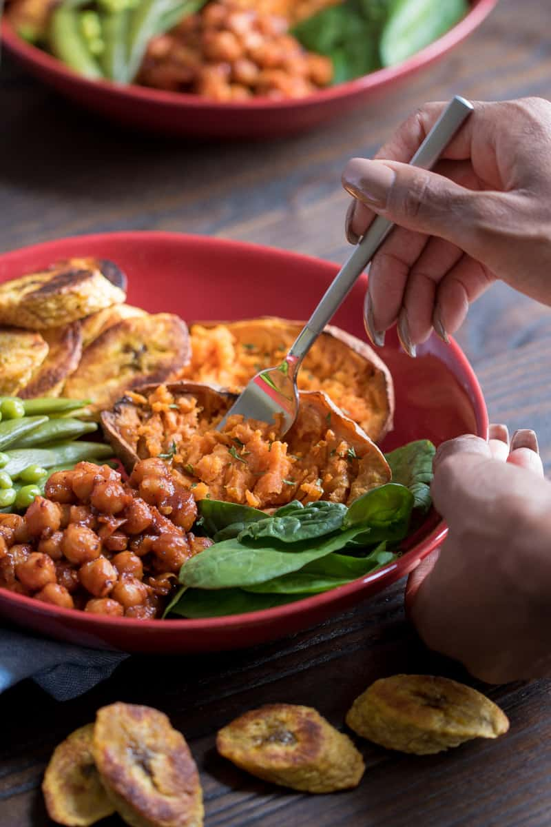 Roasted Plantain + BBQ Chickpea Vegan Bowl