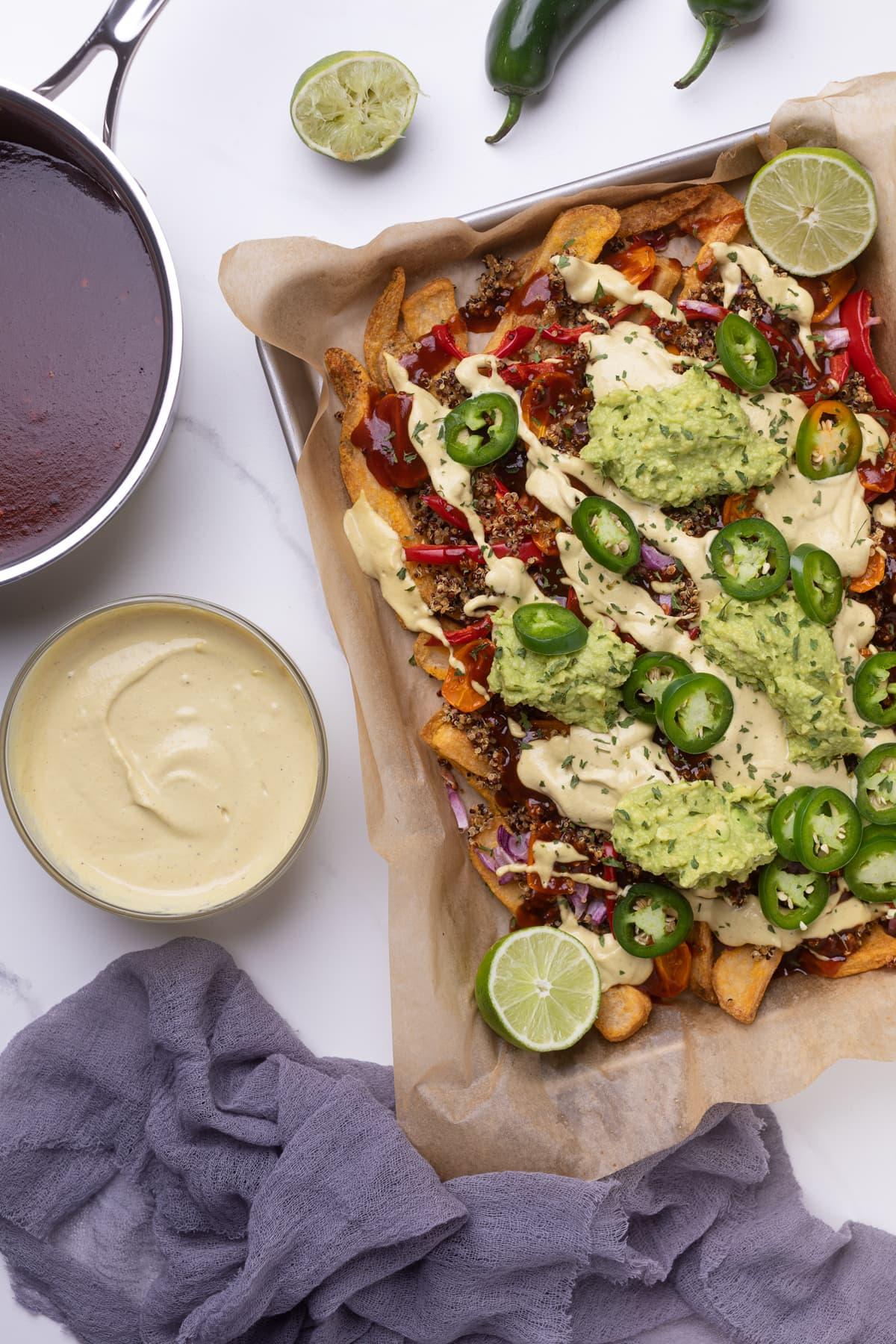 BBQ Loaded Quinoa Taco Fries