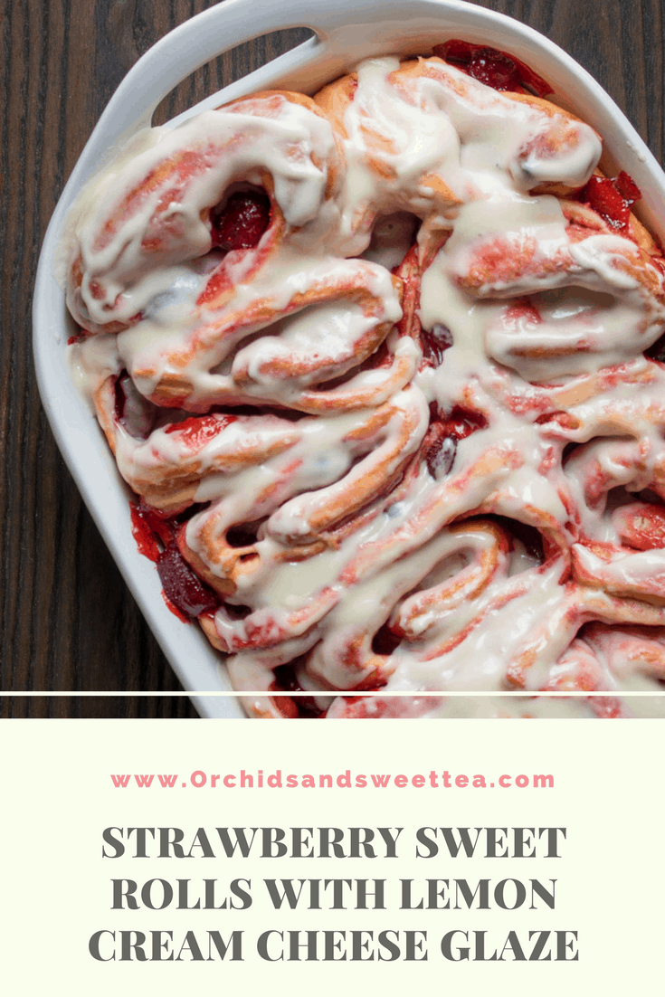 Strawberry Sweet Rolls with Lemon Cream Cheese Glaze