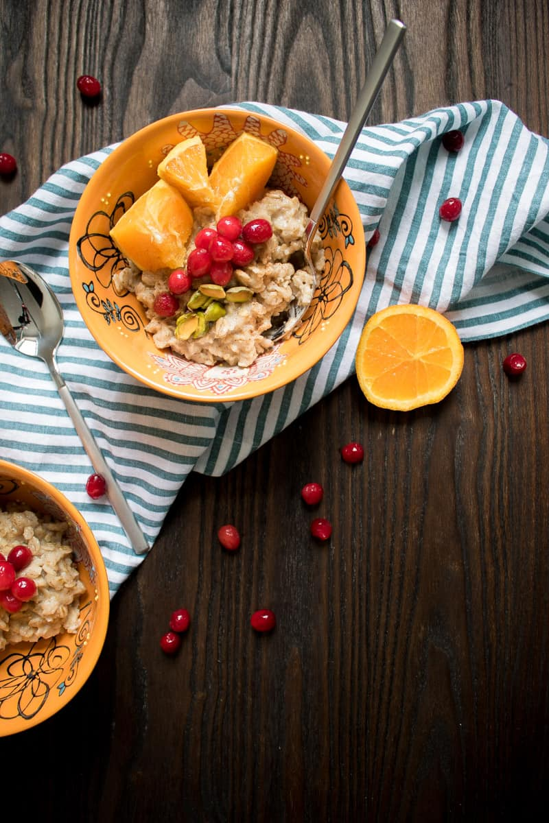 Healthy Cranberry Orange Oats with Pistachios