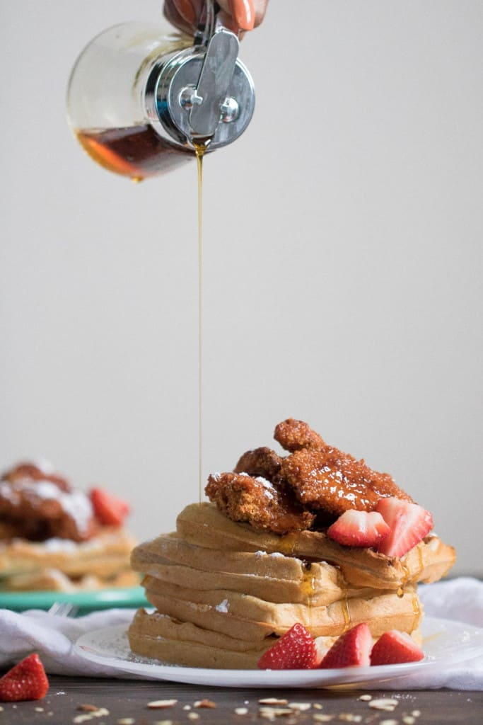 Chicken Tenders + Almond Waffles with Sweet + Spicy Sauce