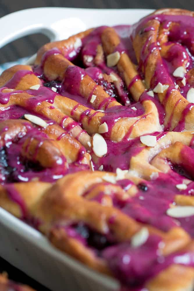 Almond Blueberry Sweet Rolls with Blueberry Cream Cheese Glaze