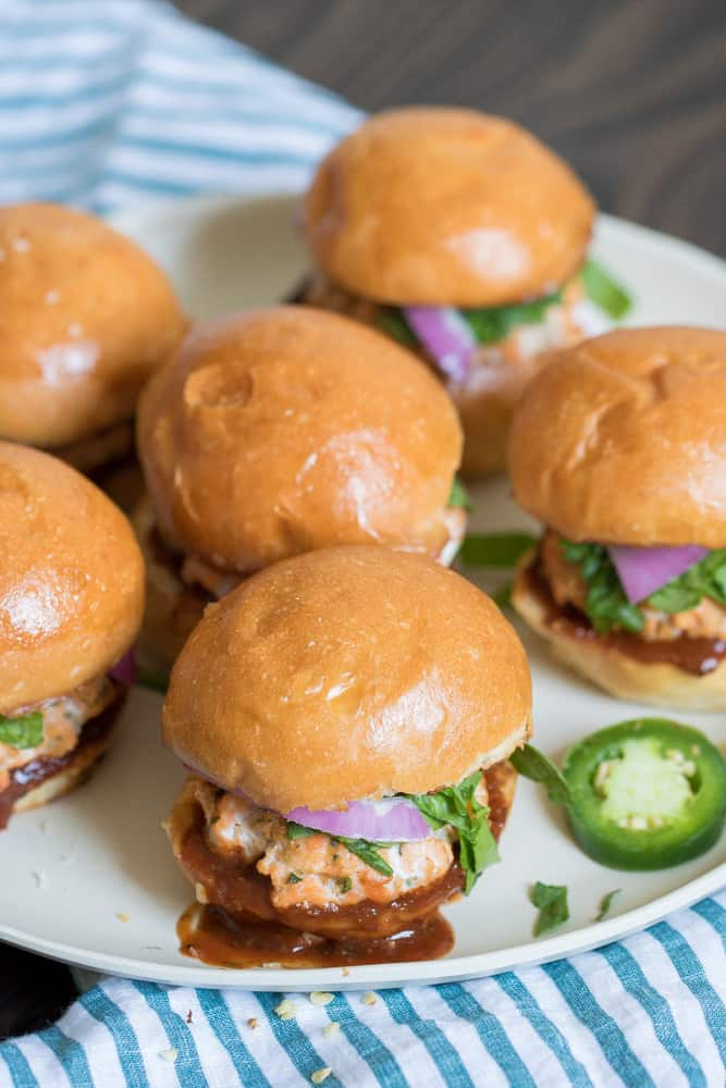 Baked Salmon Sliders with BBQ Jerk Sauce