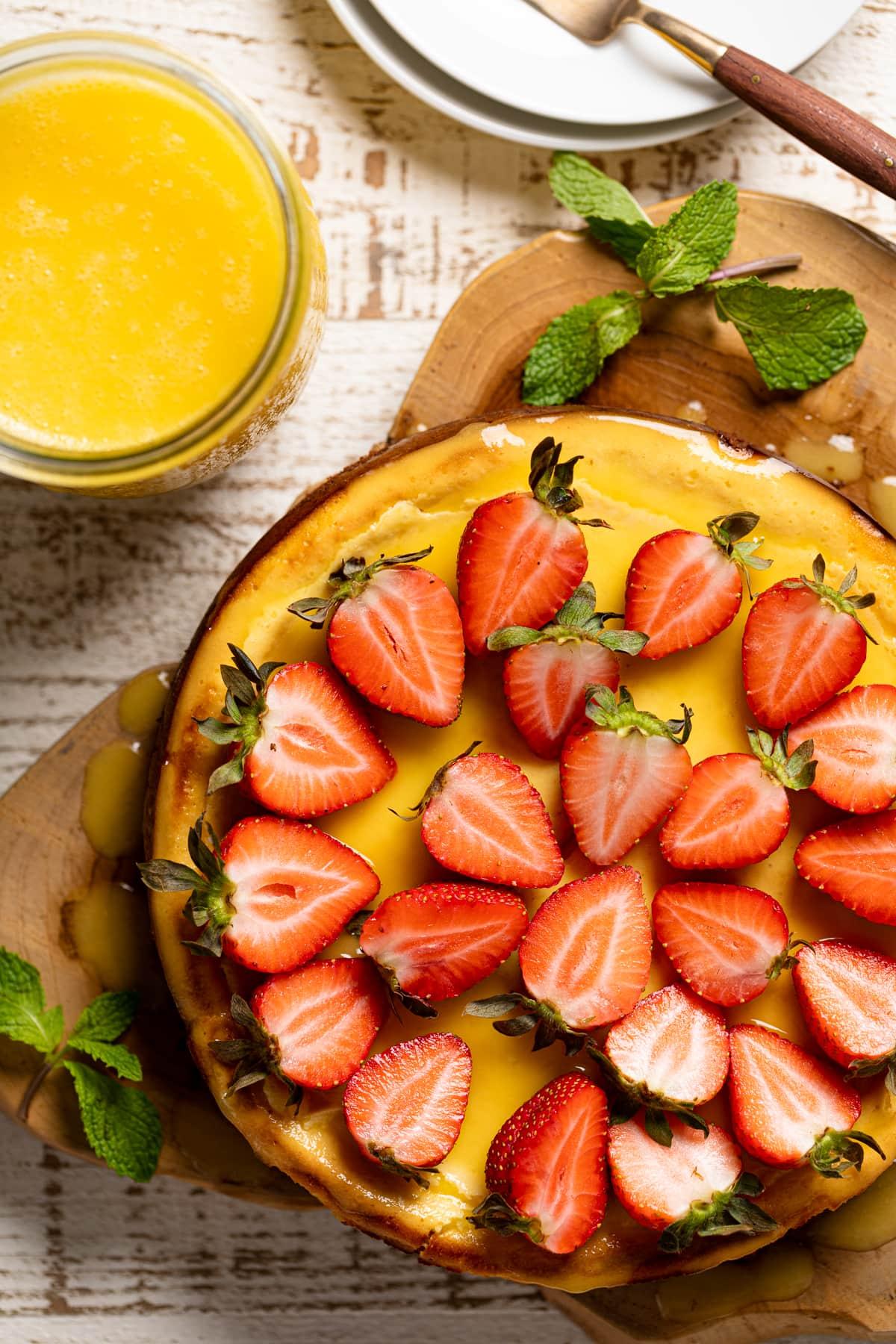 Mango Cheesecake + Chocolate Graham Cracker Crust