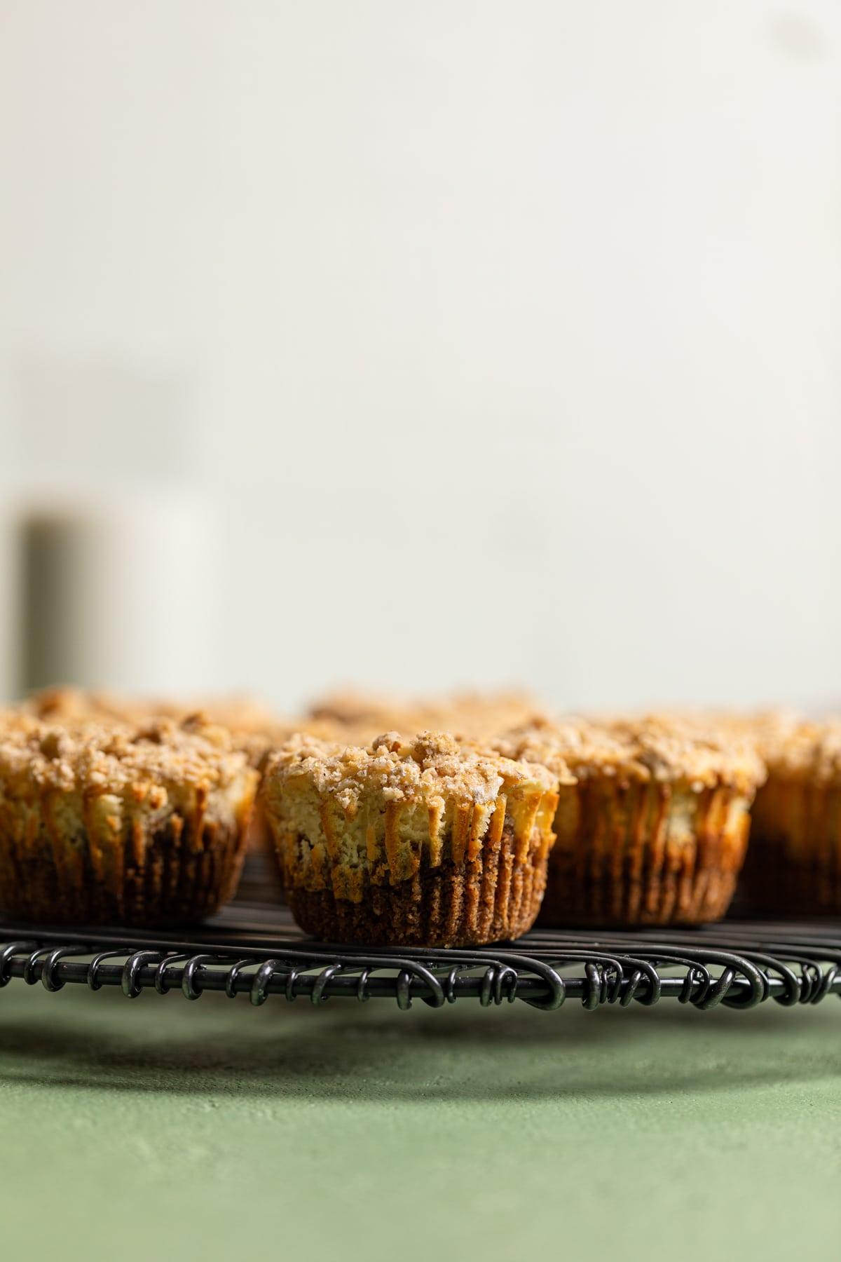 Mini Salted Caramel Apple Streusel Cheesecake Bites