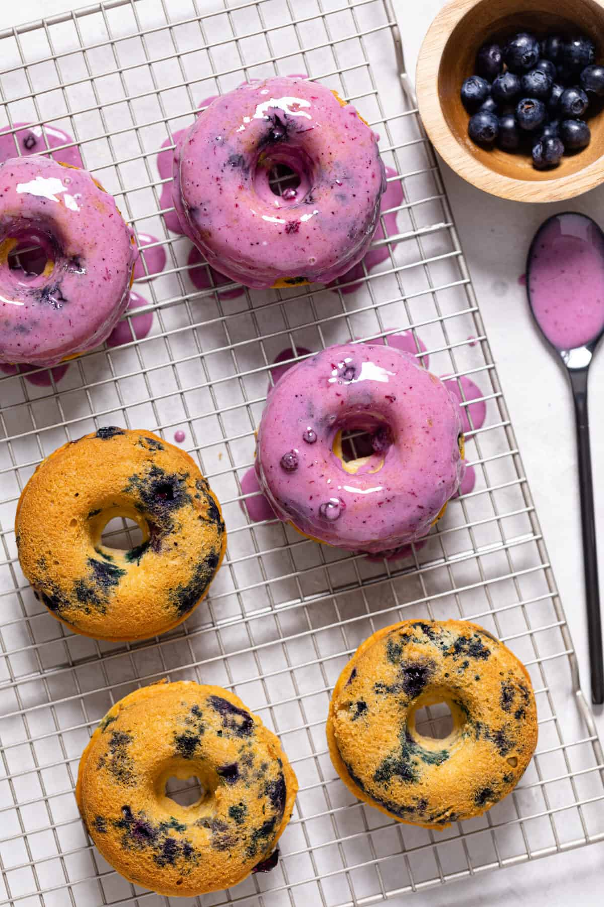 Healthy Blueberry Vegan Donuts with Blueberry Glaze