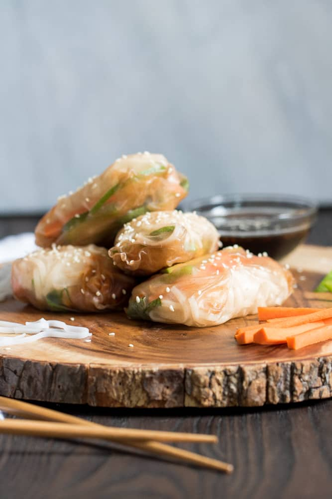 BBQ Chickpea Brown Rice Paper Spring Rolls