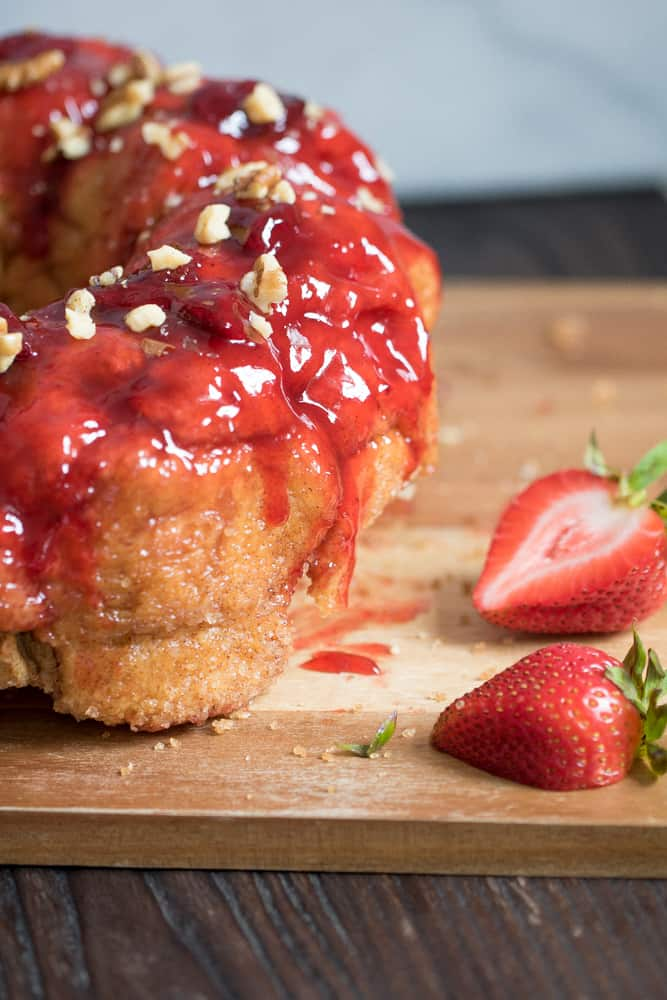Gooey Banana Monkey Bread with Strawberry Sauce