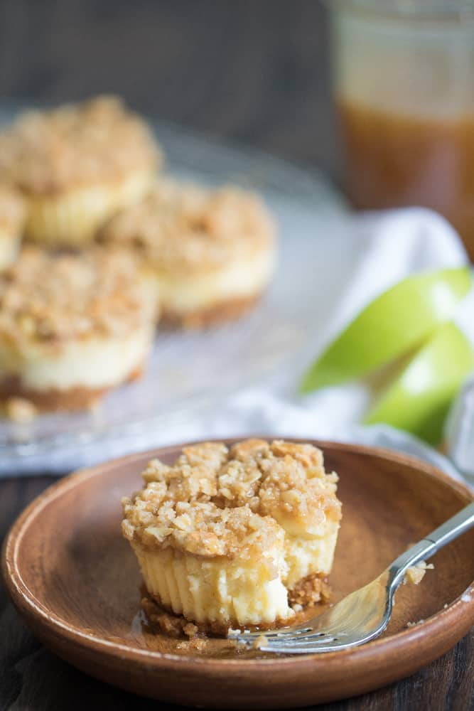 Mini Salted Caramel Apple Streusel Cheesecake Bites