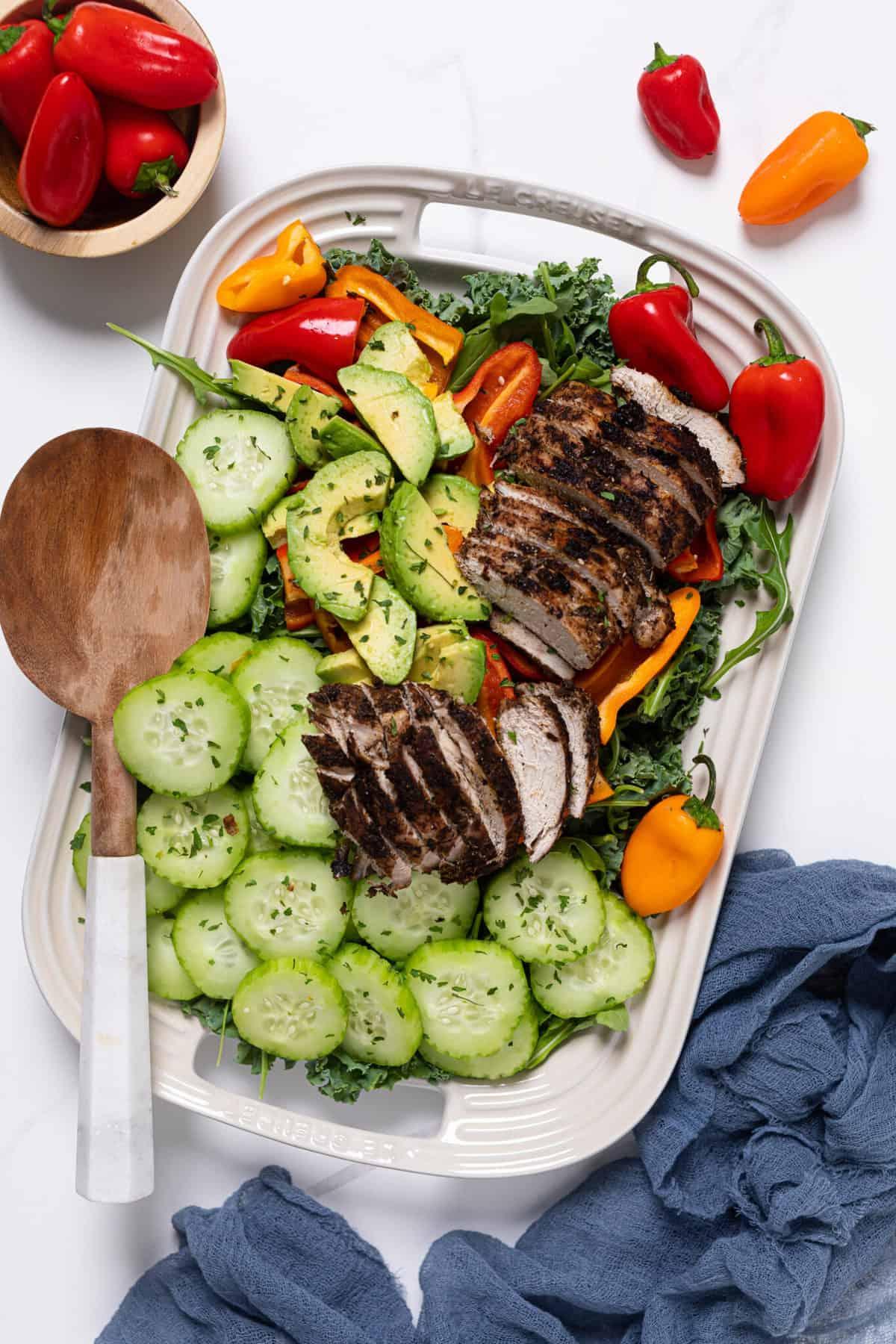Oven Baked Jamaican Jerk Chicken Salad