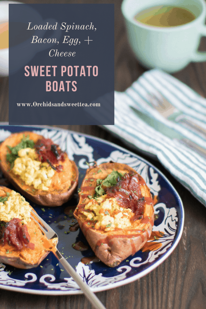 Loaded Spinach, Bacon, Egg, + Cheese Sweet Potato Boats