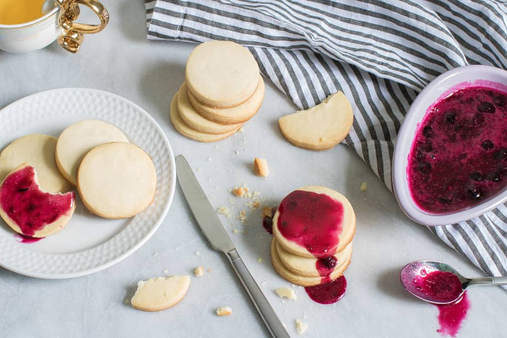 Classic Homemade Shortbread Cookies + Blueberry Jam