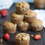 Vegan + Gluten-Free Strawberry Banana Breakfast Muffins