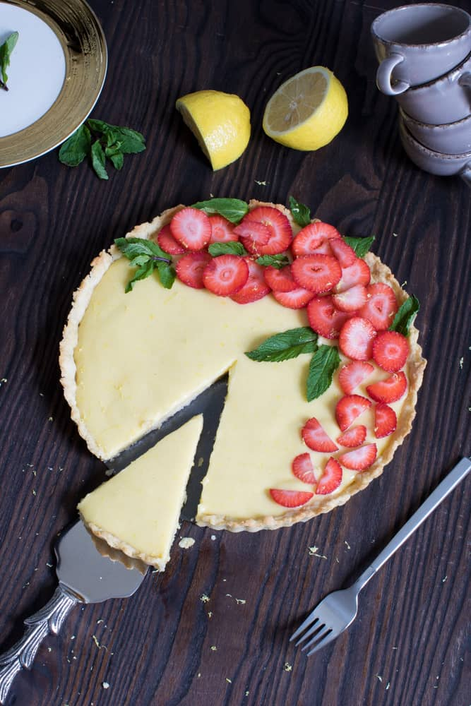 Lemon Tart with Strawberries + Mint
