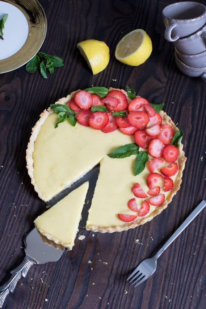 Lemon Tart with Strawberries + Mint