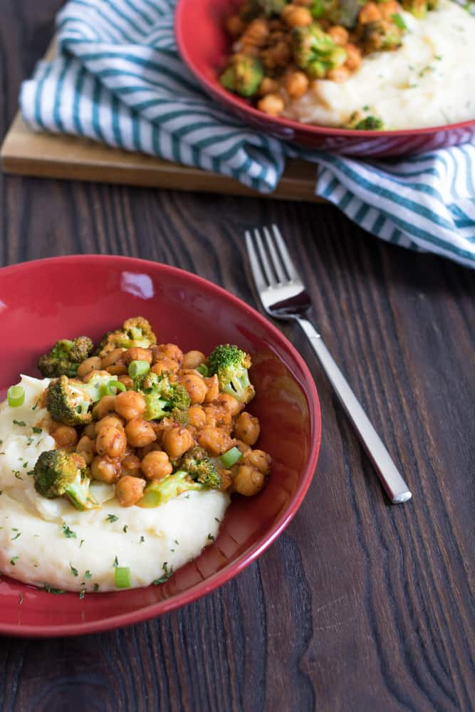 Vegan Chickpea + Broccoli Mashed Potato Bowl