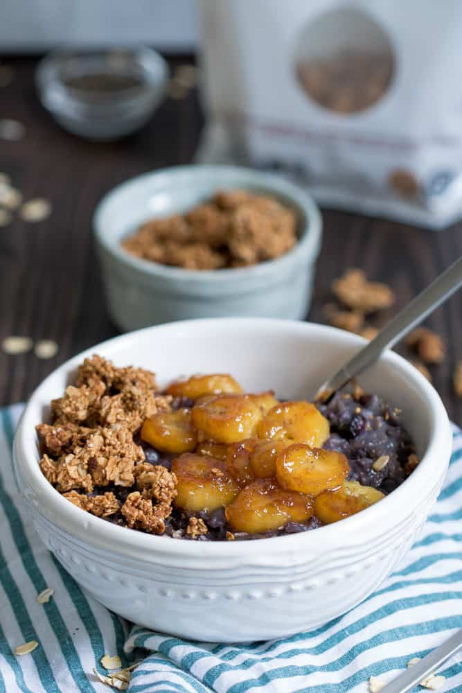 Vegan Blueberry Oatmeal + Caramelized Bananas