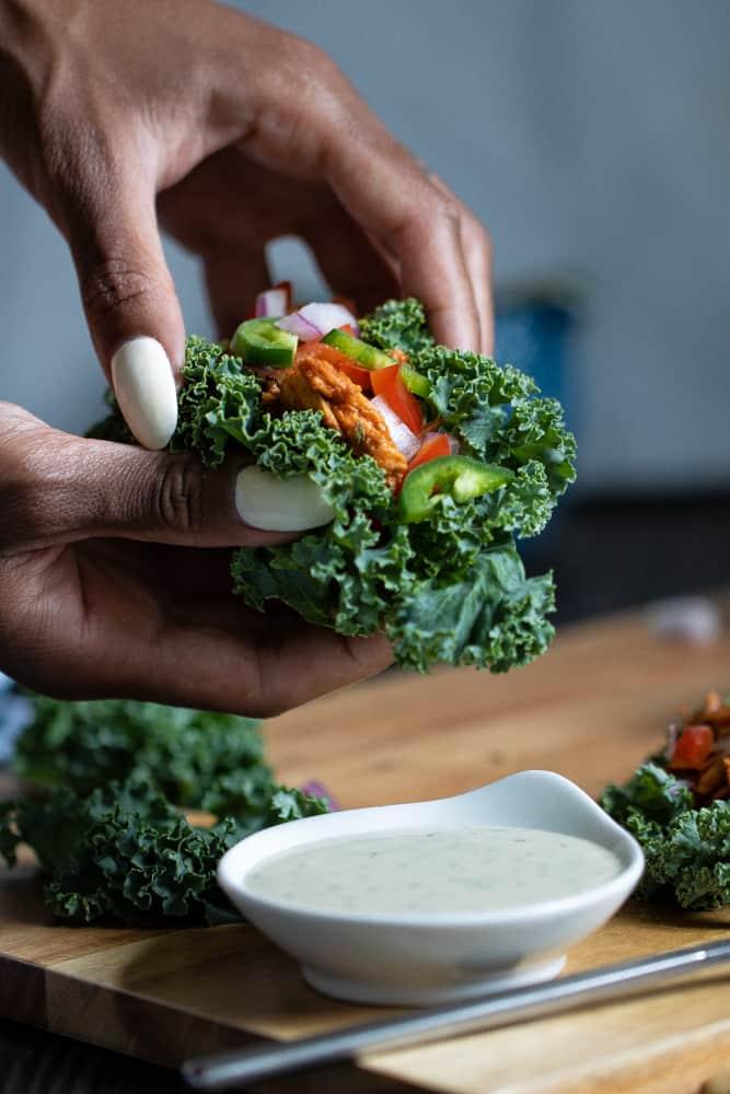 Spicy Buffalo Chicken Salad Kale Wraps