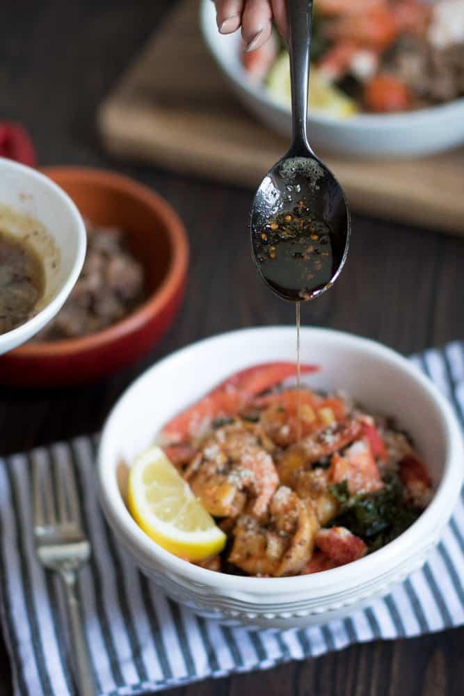 Brown Butter Lobster, Shrimp, Crispy Kale + Wild Rice