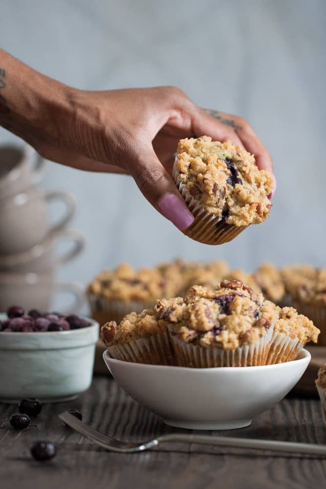 Vegan Breakfast Banana Blueberry Muffins