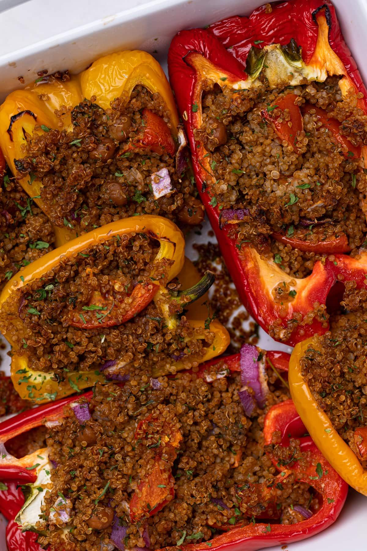 Spicy Quinoa + Veggie Stuffed Peppers
