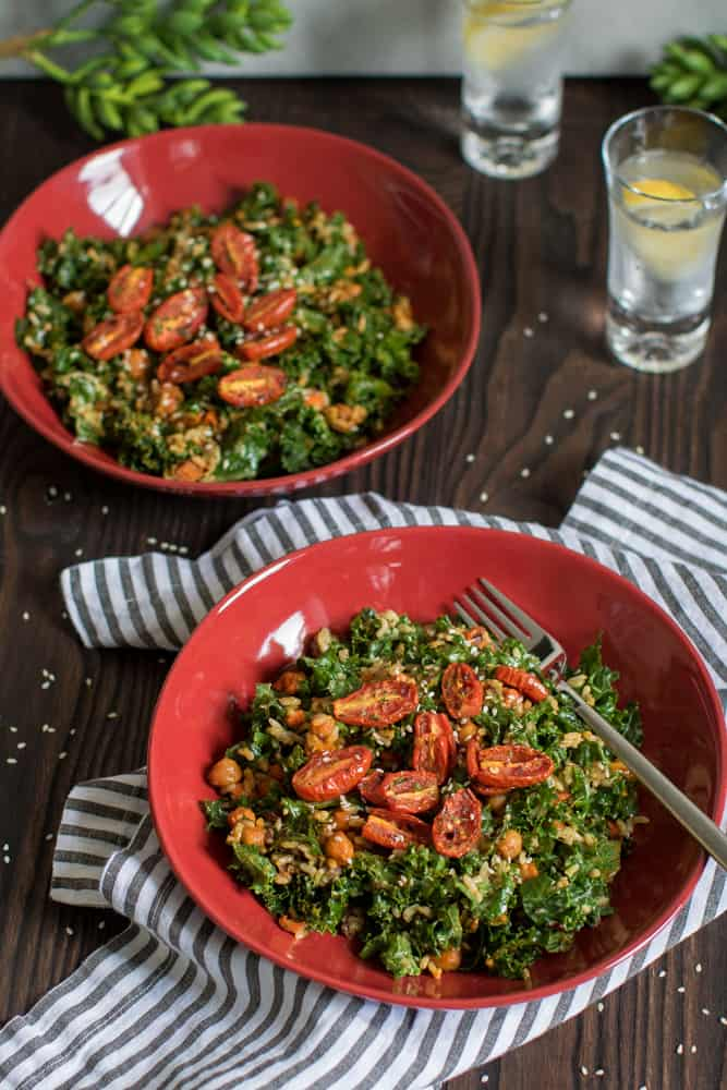 Healthy Loaded Kale Salad with Spicy Chickpeas