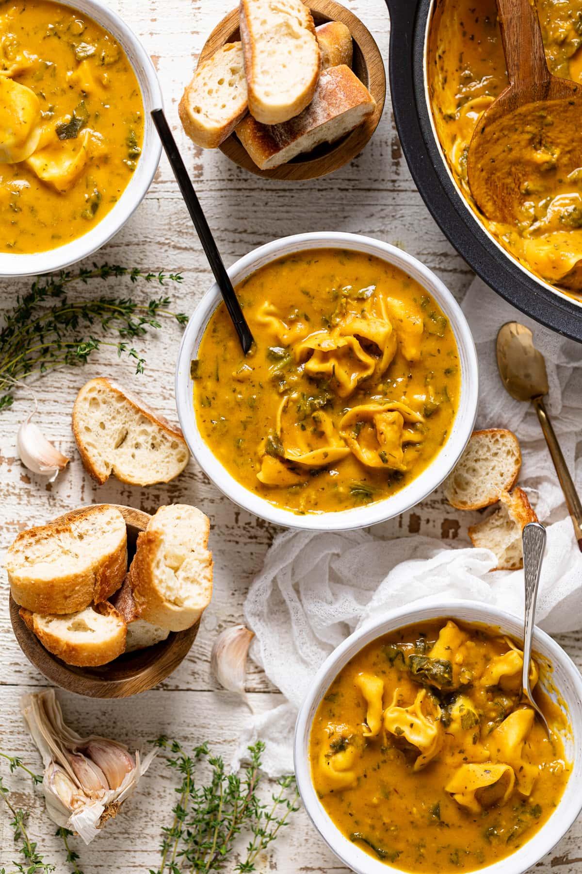 Creamy Cajun Pumpkin Tortellini Soup