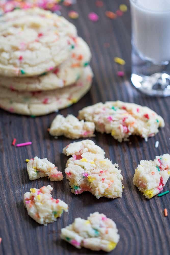 Soft Oversized Crinkled Sprinkle Sugar Cookies