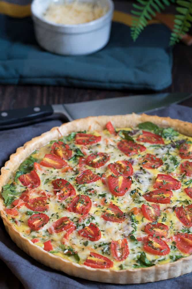 Onion, Spinach, Tomato, + Parmesan Quiche