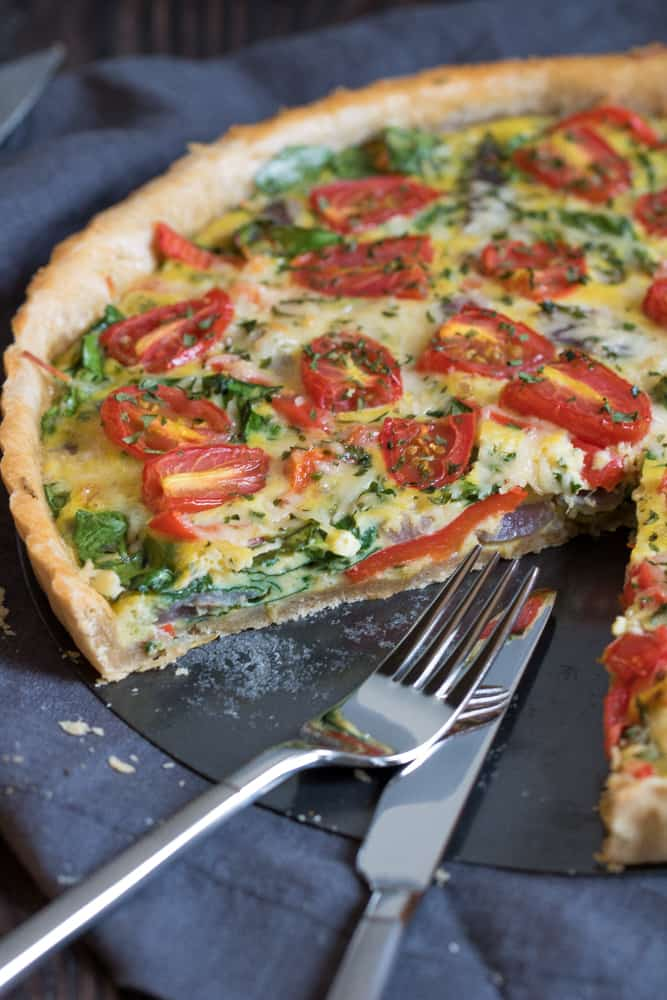 Onion, Spinach, Tomato, + Parmesan Quiche
