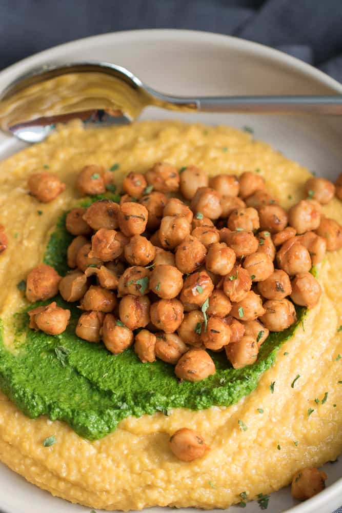 Vegan 'Cheese' Polenta + Kale Pesto + Roasted Chickpea