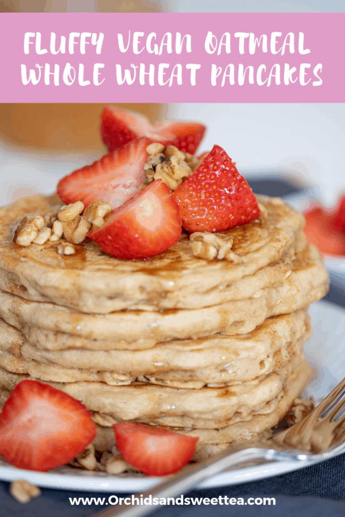 Fluffy Vegan Oatmeal Whole Wheat Pancakes
