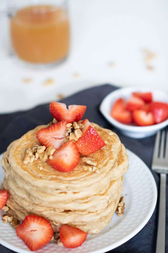 Fluffy Vegan Oatmeal Whole Wheat Pancakes