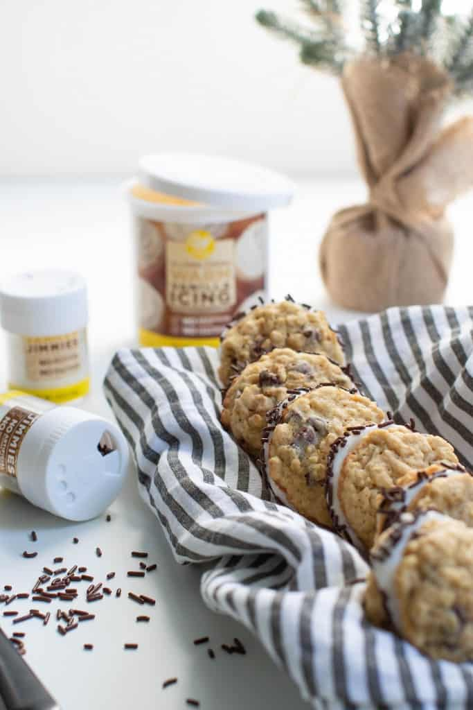 Soft + Chewy Chocolate Chip Oatmeal Cookie Sandwiches